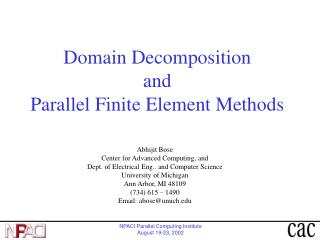 Domain Decomposition and Parallel Finite Element Methods