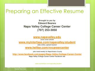 Preparing an Effective Resume