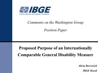 Comments on the Washington Group  Position Paper