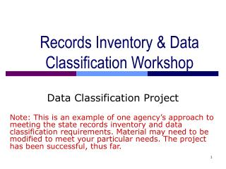 Records Inventory  Data Classification Workshop