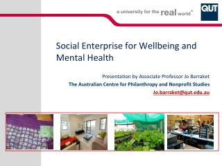 Social Enterprise for Wellbeing and Mental Health