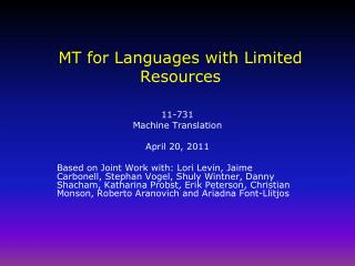MT for Languages with Limited Resources