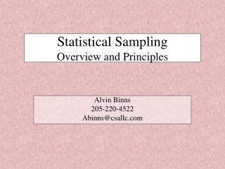 Statistical Sampling  Overview and Principles