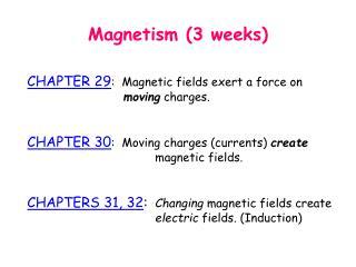 Magnetism (3 weeks)