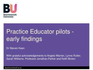 Practice Educator pilots - early findings
