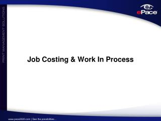 Job Costing & Work In Process