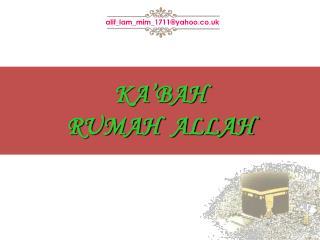 KA'BAH RUMAH  ALLAH