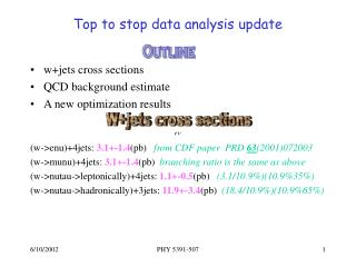 Top to stop data analysis update