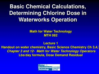 Basic Chemical Calculations, Determining Chlorine Dose in Waterworks Operation