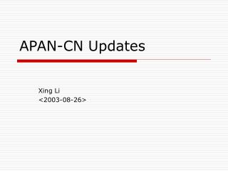 APAN-CN Updates