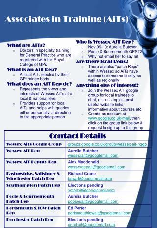 Associates in Training (AiTs)