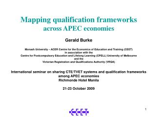Mapping qualification frameworks across APEC economies Gerald Burke