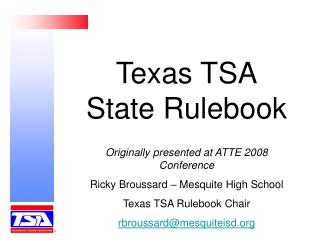 Texas TSA State Rulebook