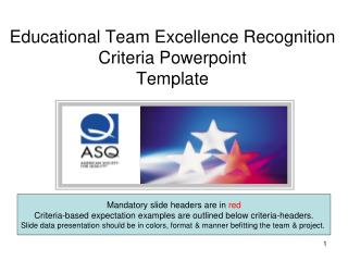 Educational Team Excellence Recognition  Criteria Powerpoint  Template