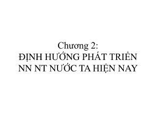 Chương 2: ĐỊNH HƯỚNG PHÁT TRIỂN NN NT NƯỚC TA HIỆN NAY