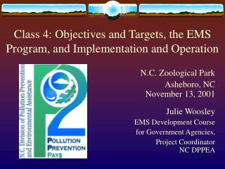 Class 4: Objectives and Targets, the EMS Program, and Implementation and Operation