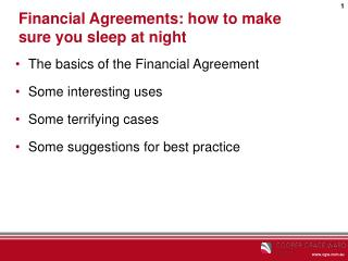 Financial Agreements: how to make sure you sleep at night