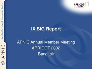 IX SIG Report