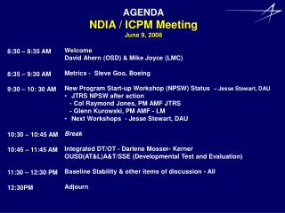 AGENDA NDIA / ICPM Meeting June 9, 2008