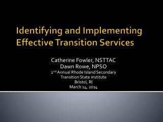 Identifying and Implementing Effective Transition Services