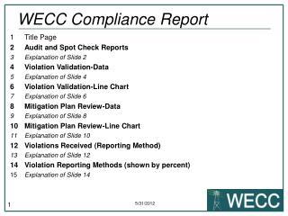 WECC Compliance Report