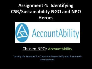 Assignment 4:  Identifying CSR/Sustainability NGO and NPO Heroes