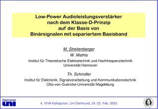 M. Streitenberger W. Mathis