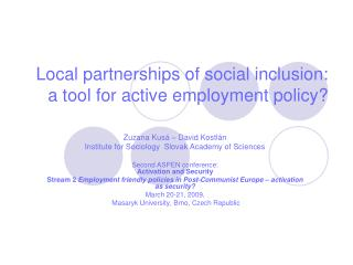 Local partnerships of social inclusion: a tool for active employment policy?