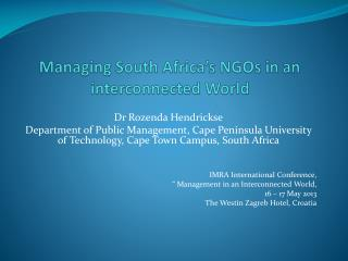 Managing South Africa's NGOs in an interconnected World