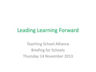 Leading Learning Forward