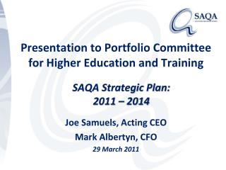 Presentation to Portfolio Committee for Higher Education and Training