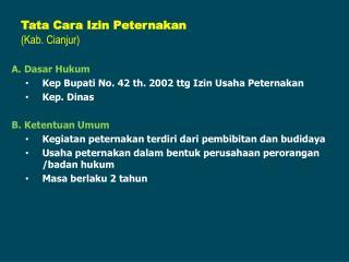 Tata Cara Izin Peternakan (Kab. Cianjur)