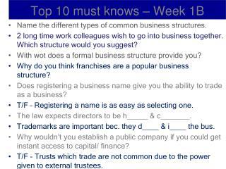 Top 10 must knows – Week 1B