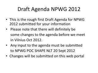 Draft Agenda NPWG 2012