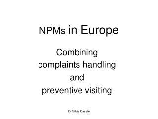 NPMs  in Europe