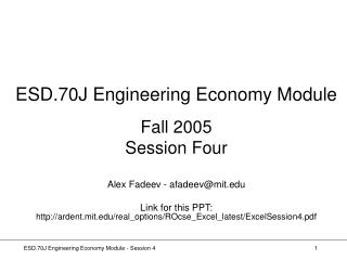 ESD.70J Engineering Economy Module