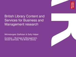British Library Content and Services for Business and Management research