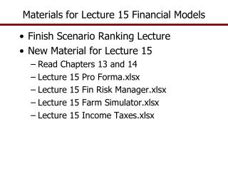 Materials for Lecture 15 Financial Models