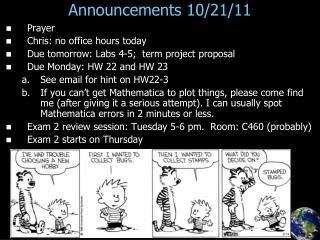 Announcements 10/21/11