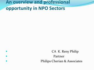 An overview and professional opportunity in NPO Sectors