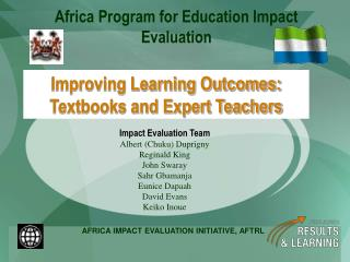 Improving Learning Outcomes: Textbooks and Expert Teachers