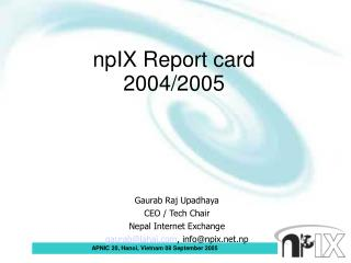 npIX Report card  2004/2005