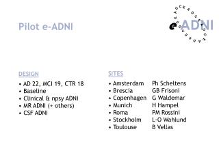 Pilot e-ADNI DESIGN  AD 22, MCI 19, CTR 18  Baseline  Clinical & npsy ADNI  MR ADNI (+ others)