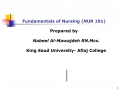 Fundamentals of Nursing NUR 101