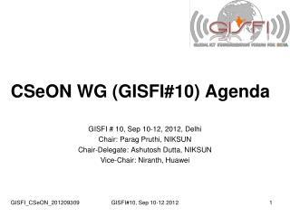 CSeON WG (GISFI#10) Agenda