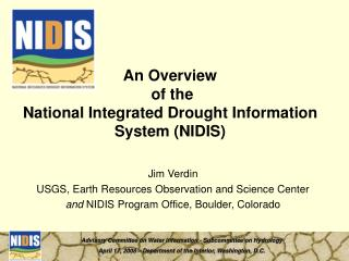 An Overview  of the National Integrated Drought Information System (NIDIS)