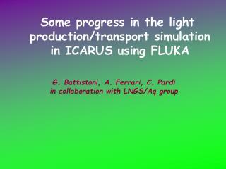 G. Battistoni, A. Ferrari, C. Pardi in collaboration with LNGS/Aq group