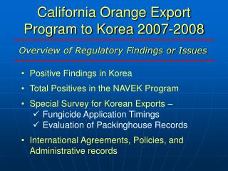 California Orange Export Program to Korea 2007-2008
