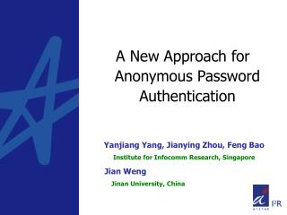 A New Approach for Anonymous Password Authentication