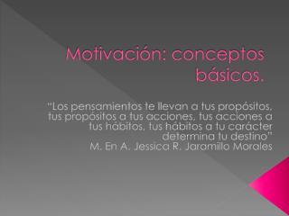 Motivaci�n: conceptos b�sicos.